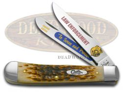 Case xx Trapper Knife Law Enforcement Amber Bone 1/3000 To Serve And Protect