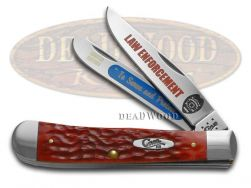Case xx Trapper Knife Law Enforcement Red Bone 1/3000 Police Stainless Pocket