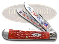 Case xx Trapper Knife Star Spangled Banner 200th Birthday Red Bone 1/2500