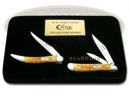 Case xx Father Daughter Peanut & Toothpick Knife Set Harvest Orange Bone 1/2500
