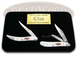 Case xx Father Daughter Peanut & Toothpick Knife Set White Delrin 1/600 JWD-F&D
