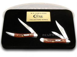 Case xx Father Daughter Peanut & Toothpick Knife Set Red Bone 1/2500 Stainless