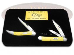 Case xx Father Son Peanut & Toothpick Knife Set Yellow Delrin 1/500 CV Y-F&S