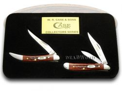 Case xx Father Son Peanut & Toothpick Knife Set Red Bone 1/2500 Stainless