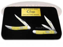 Case xx Grandfather & Granddaughter Peanut & Toothpick Knife Set Yellow 1/500 CV