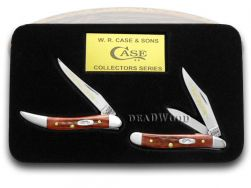 Case xx Grandfather Granddaughter Peanut & Toothpick Knife Set Red Bone 1/2500