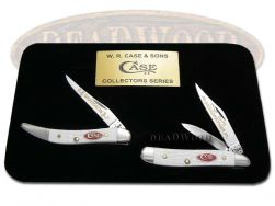 Case xx Grandfather Grandson Peanut & Toothpick Knife Set White Delrin 1/600