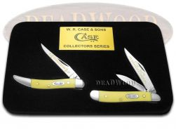 Case xx Grandfather Grandson Peanut & Toothpick Knife Set Yellow Delrin 1/500