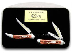 Case xx Grandfather Grandson Peanut & Toothpick Knife Set Red Bone 1/2500