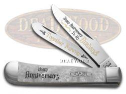 Case xx Happy Anniversary Husband Trapper Knife White Pearl Corelon 1/999