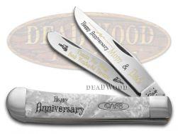 Case xx Happy Anniversary Mom And Dad Trapper Knife White Pearl Corelon 1/999