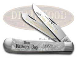 Case xx Father's Day Trapper Knife White Pearl Corelon 1/999 Stainless Pocket