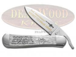 Case xx Russlock Knife Right to Bear Arms White Pearl Corelon Stainless Pocket