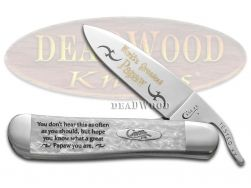Case xx World's Greatest Papaw Russlock Knife White Pearl Corelon Stainless