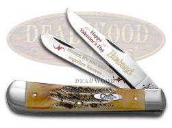 Case xx Happy Valentine's Day Husband Trapper Knife 6.5 Bone Stag 1/500 Pocket
