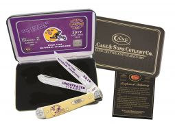 Case xx LSU 2019 National Champs Undefeated Tigers Trapper Knife Yellow Delrin
