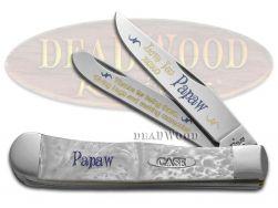 Case xx Trapper Knife Love You Papaw White Pearl Corelon 1/500 Stainless Pocket