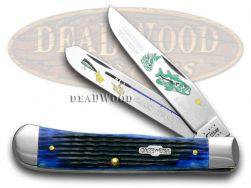 Case xx Trapper Knife Bass Fever Jigged Blue Bone 1/500 Stainless Pocket Knives