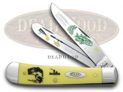 Case xx Trapper Knife Bass Fever Yellow Delrin 1/500 Stainless Pocket Knives