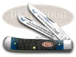 Case xx World's Greatest Dad Trapper Knife Jigged Blue Bone 1/600 Stainless