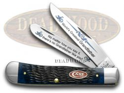 Case xx World's Greatest Grandfather Trapper Knife Jigged Blue Bone 1/600