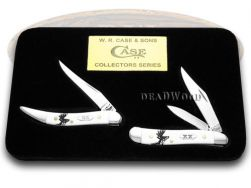 Case xx Peanut Toothpick Knife Set Deer Scene White Delrin 1/500 Stainless