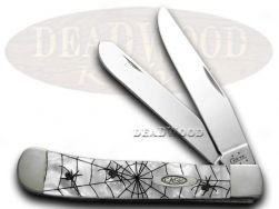 Case xx Trapper Knife Woodland Spiders White Pearl Stainless Pocket Knives