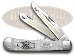 Case xx World's Greatest Dad Trapper Knife White Pearl Corelon 1/600 Stainless