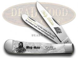 Case xx Trapper Knife Holy Bible Psalms 113:3 White Pearl Stainless Pocket