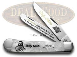 Case xx Trapper Knife Holy Bible 1 Chronicles 16:34 White Pearl 1/500 Stainless