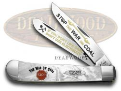 Case xx Trapper Knife Stop the War on Coal White Pearl Corelon 1/600 Stainless