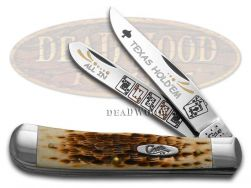 Case xx Trapper Knife Texas Hold'Em Jigged Amber Bone Stainless Pocket Knives