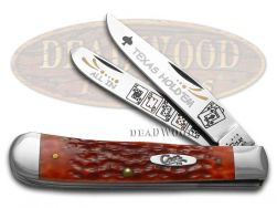 Case xx Trapper Knife Texas Hold'Em Jigged Red Bone 1/500 Stainless Pocket