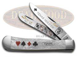Case xx Trapper Knife Texas Hold'Em White Pearl Corelon Stainless Pocket Knives