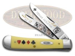 Case xx Trapper Knife Texas Hold'Em Yellow Delrin 1/500 Stainless Pocket Knives