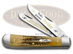 Case xx Trapper Knife World's Greatest Brother 6.5 Bone Stag 1/600 Stainless