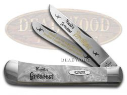 Case xx World's Greatest Brother Trapper Knife White Pearl 1/600 Stainless