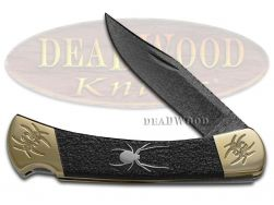 Buck 110 Yellowhorse Folding Hunter Knife Spider Black Jet 1/25 Native Steel