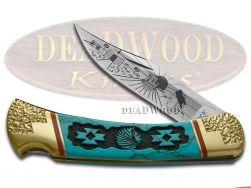 Buck 110 Yellowhorse Folding Hunter Knife Navajo Land Blue Turquoise 1/25 DYH199
