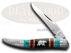 Schatt & Morgan Yellowhorse Toothpick Knife Grizzly Bear Turquoise 1/100