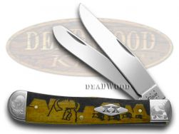 Case xx Yellowhorse Trapper Knife Scrolled Buffalo Hunt Antique Bone 1/500