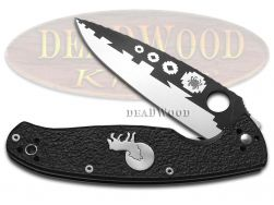 David Yellowhorse Spyderco Resilience Liner Lock Knife Howling Wolf Black G-10