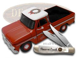 Hen & Rooster Trapper Knife Mother Of Pearl 1966 Chevy 10 Christmas Truck