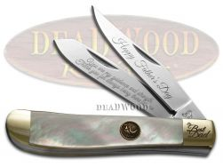 Hen and Rooster Happy Father's Day Mini Trapper Knife Genuine Mother of Pearl