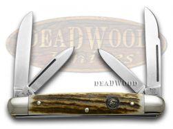 Hen & Rooster Medium Congress Knife Genuine Deer Stag Stainless Pocket 214-DS