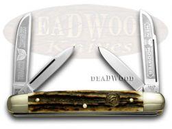 Hen & Rooster Medium Congress Knife Tobacco Genuine Deer Stag Pocket 214-DS/TC