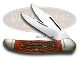 Hen & Rooster Copperhead Knife Red Pick Bone Stainless Pocket Knives 232-RPB