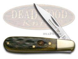 Hen & Rooster Barlow Knife Antique Green Pick Bone Stainless Pocket 241-AGB