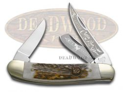 Hen & Rooster Sowbelly Knife Little Cuttin Horse Genuine Deer Stag 283-DS/LCUT