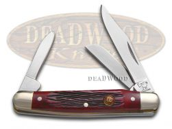 Hen & Rooster Small Stockman Knife Red Pick Bone Stainless Pocket 303-RPB